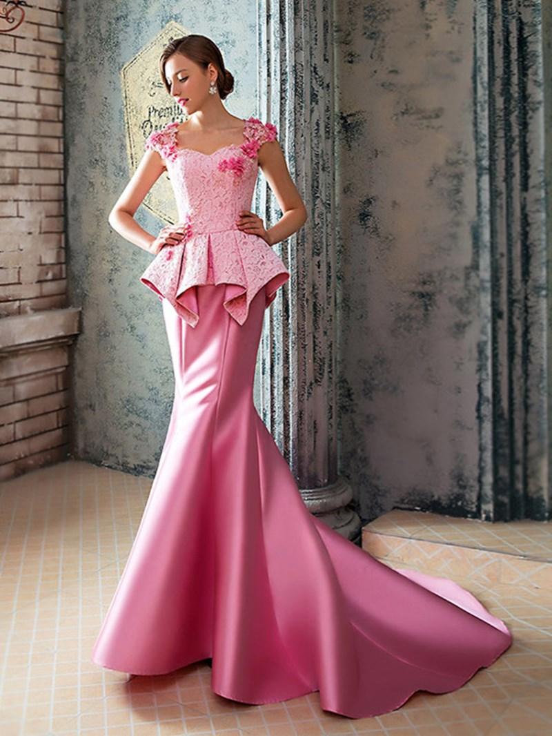 Amazing Mermaid Lace Court Train Long Evening Dress