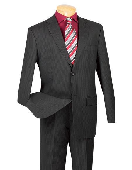 Mens Mini Stripe ~ Pinstripe 2 button Wool Blend Black Suit
