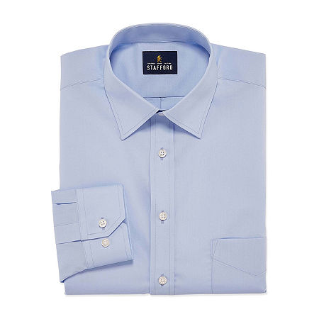 Stafford Mens Travel Easy-Care Broadcloth Stretch Regular Fit Dress Shirt, 15.5 34-35, Blue
