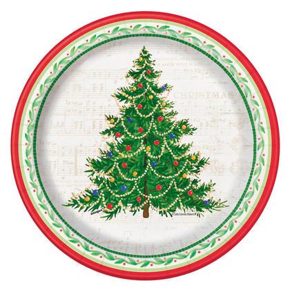 Assiette en papier classique arbre de fête pour décor de maison de vacances, 7 pouces, 8ct