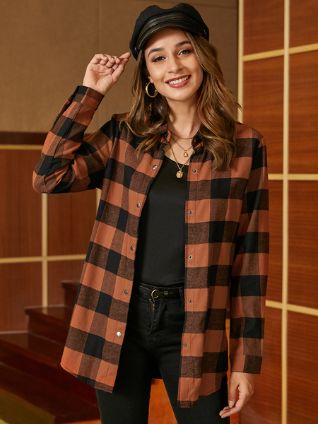 YOINS Brown Plaid Classic Collar Long Sleeves Coat