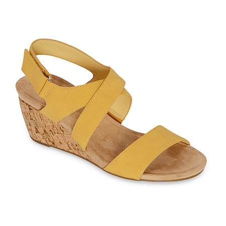 St. John's Bay Womens Pasque Wedge Sandals, 8 Wide, Yellow