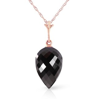 12.25 Carat 14K Solid Gold Necklace Pointy Briolette Drop Black Spinel (20 Inch - Rose)