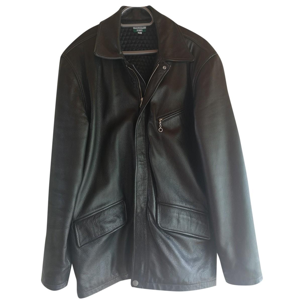 Paul Smith - Manteau   pour homme en cuir - noir