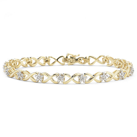 1/10 CT. T.W. Diamond 14K Gold over Sterling Silver Bracelet, One Size , No Color Family