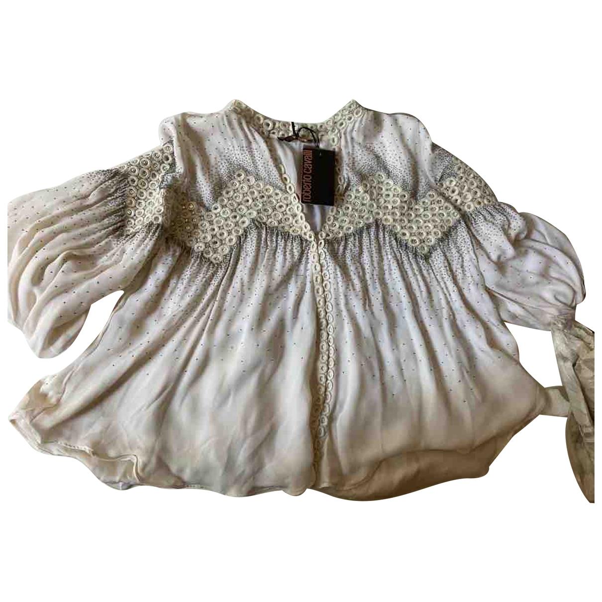 Roberto Cavalli - Top   pour femme en soie - blanc