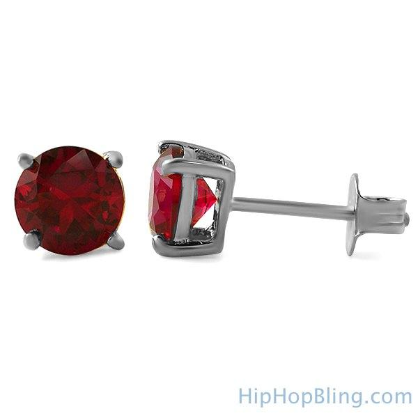 Lab Ruby Round Cut Stud Earrings .925 Silver