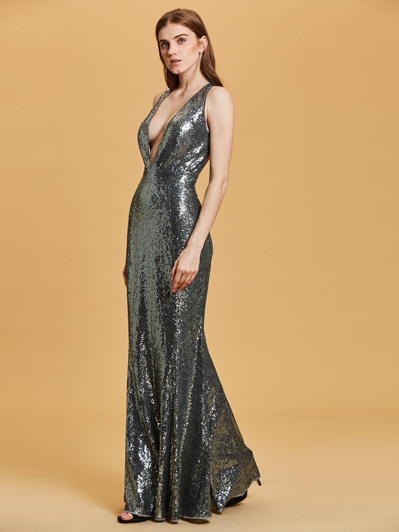 Ericdress V Neck Criss-Cross Straps Sequins Sheath Evening Dress
