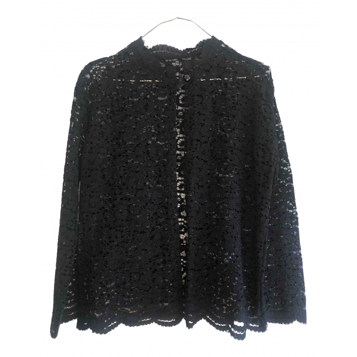 Non Signé / Unsigned N Black Cotton Knitwear for Women 38 FR