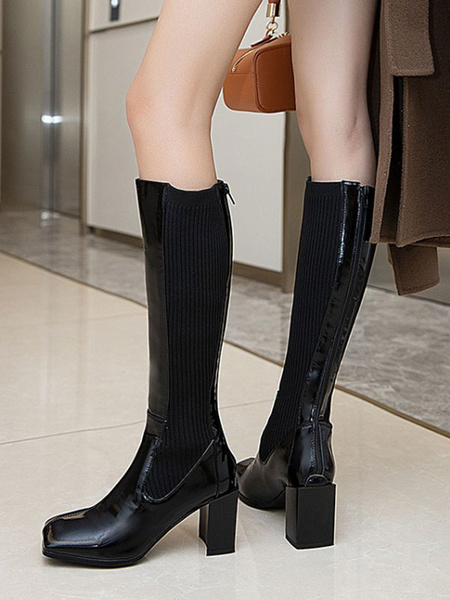 Milanoo Knee-High Boots Cowhide Black Square Toe Chunky Heel Cowhide Women\'s Knee Boots