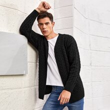 Men Cable Knit Open Front Cardigan