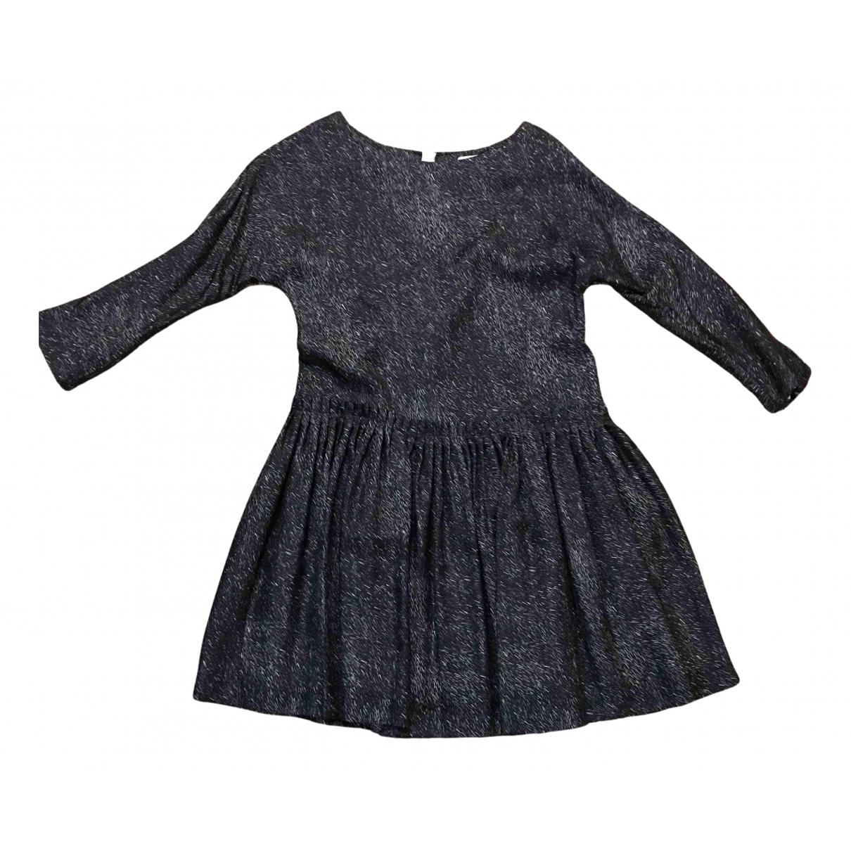 Samuji \N Kleid in  Schwarz Seide