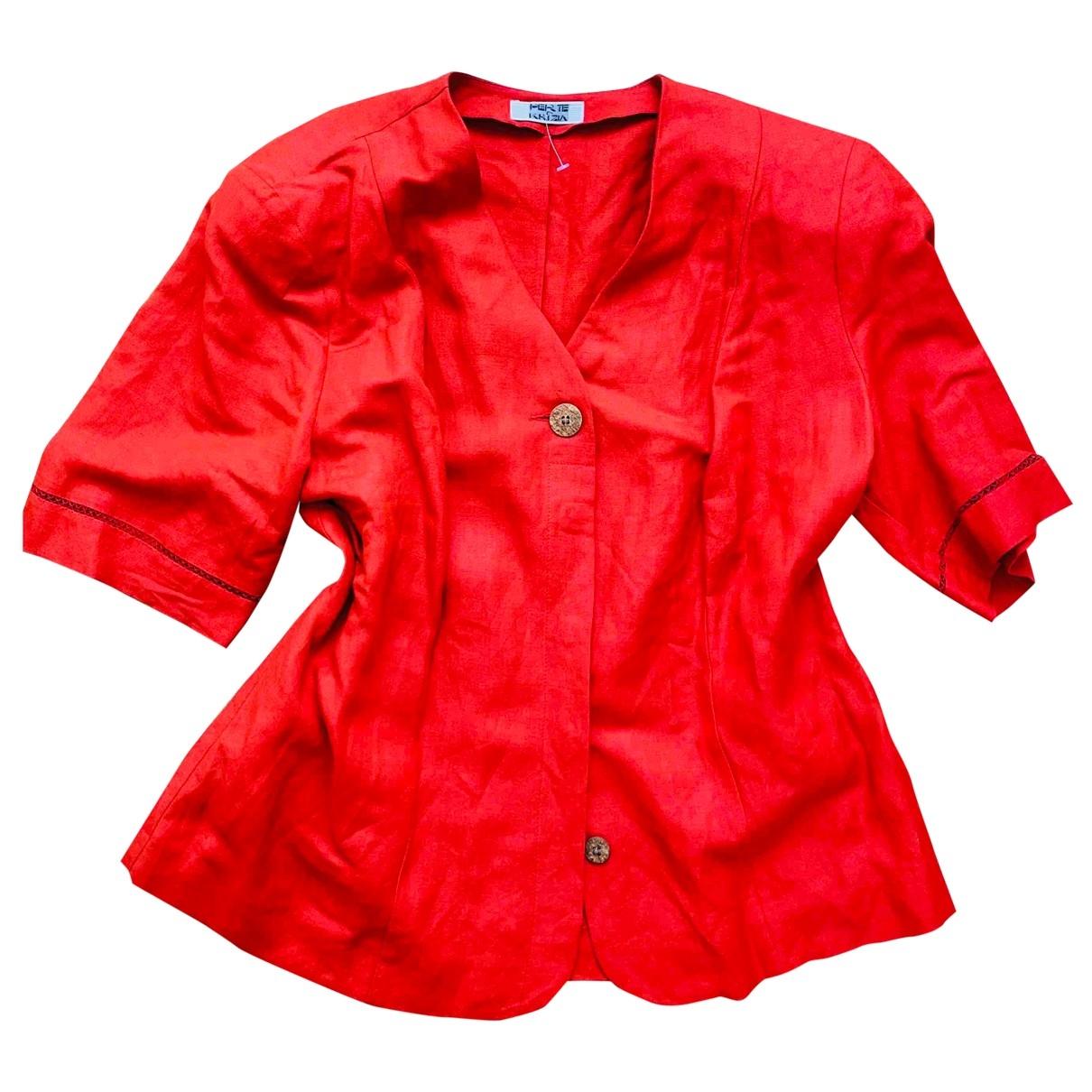 Krizia - Veste   pour femme en lin - rouge