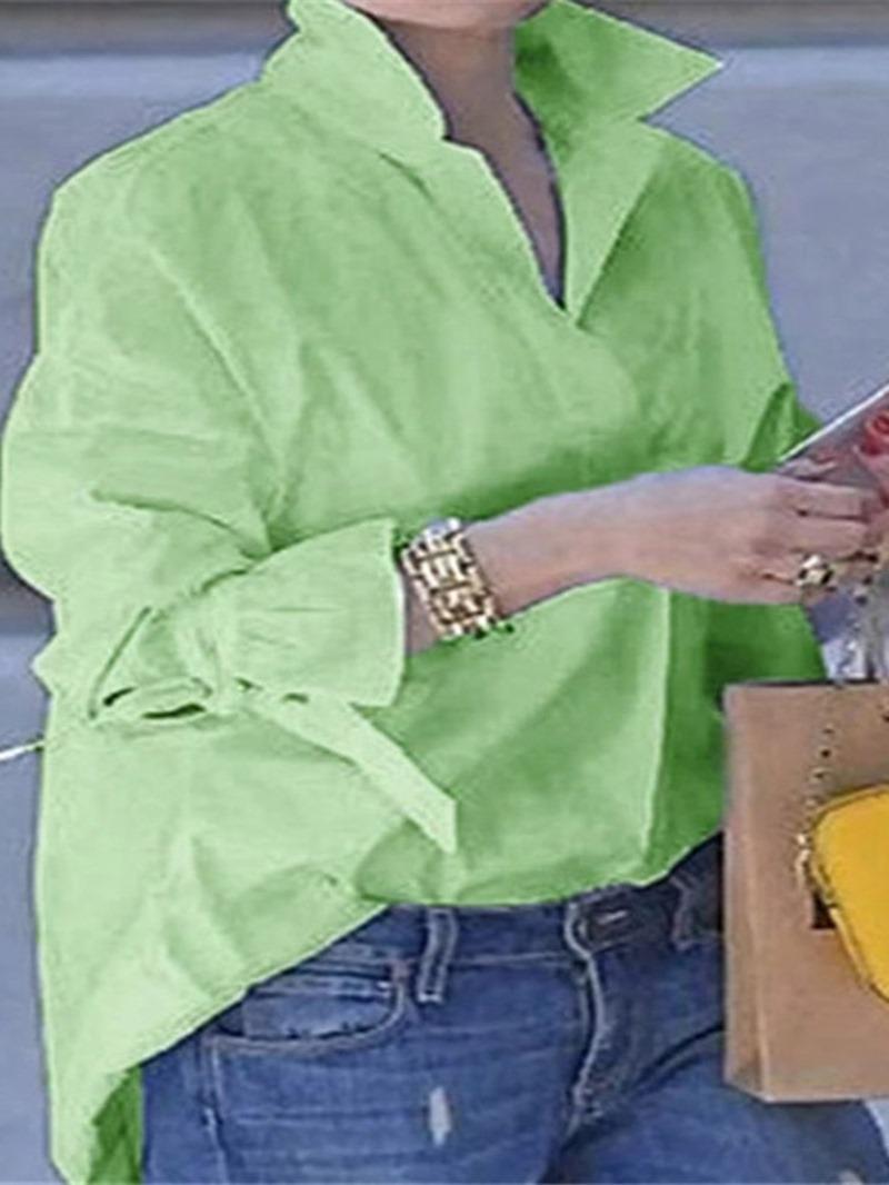 Ericdress Ruffle Sleeve Lapel Patchwork Long Sleeve Mid-Length Blouse