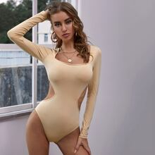 Square Neck Cut-out Skinny Bodysuit