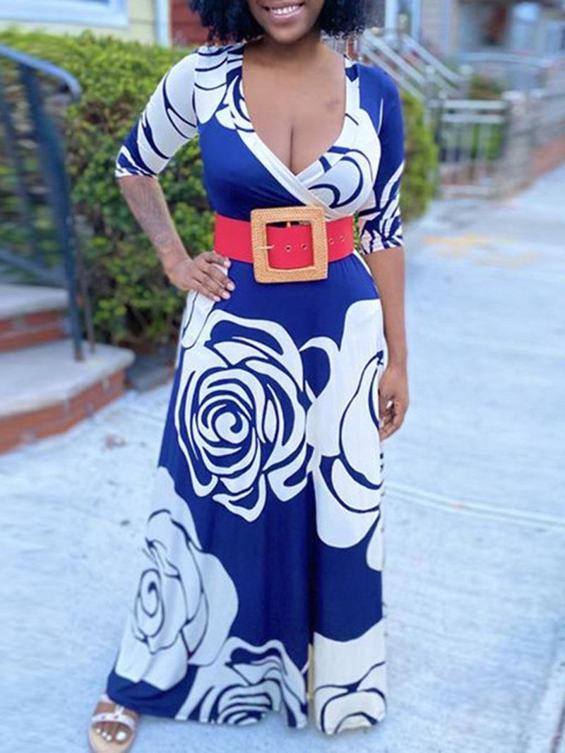 Ericdress Print Floor-Length Half Sleeve Floral A-Line Dress