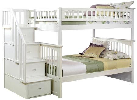 Columbia Collection AB55802 Full Over Full Size Bunk Bed with Staircase  Storage Drawers  Built-In Modesty Panel  Modern Style and Eco-Friendly Solid