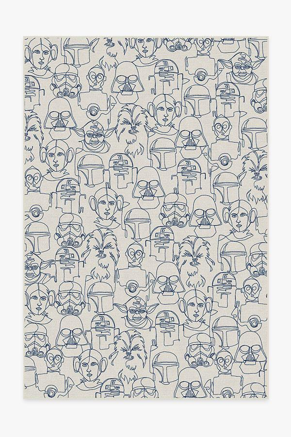 Washable Rug Cover & Pad | The Saga Delft Blue Rug | Stain-Resistant | Ruggable | 6'x9'