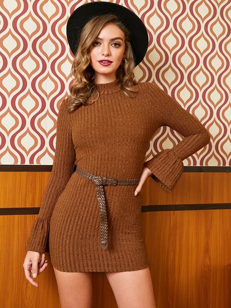 YOINS Belt Design Round Neck Long Sleeves Mini Dress