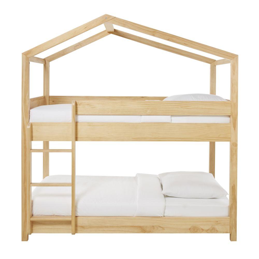 Etagenbett in Hausform aus Kiefernholz 90x190 Wild