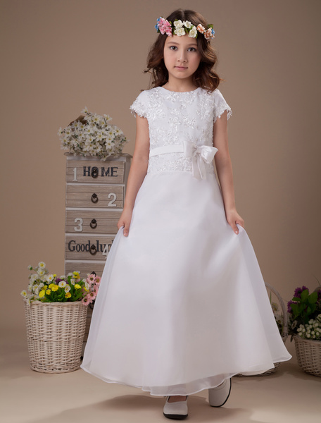 Milanoo Sweet A-line White Satin Ankle-Length First Communion Dress