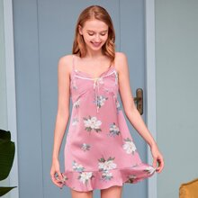 PJM vestido de pijama de tirantes floral de lunares bajo fruncido con cordon delantero