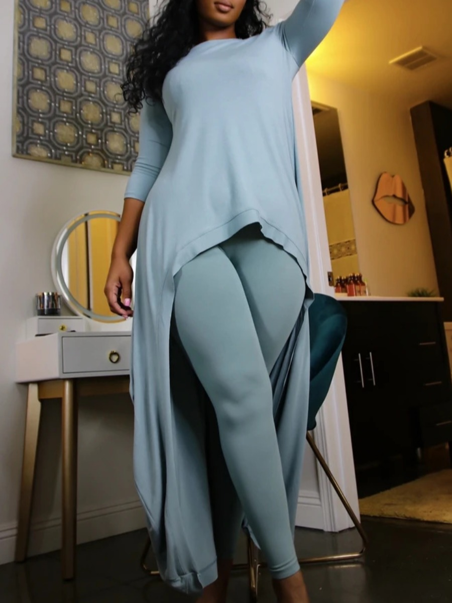 LW lovely Casual O Neck Asymmetrical Skinny Blue Two Piece Pants Set