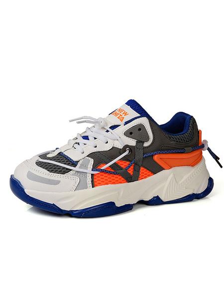 Milanoo Zapatillas de deporte para hombre Cozy Mesh Round Toe Color Block Low Tops Zapatos para hombre