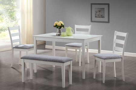 I 1210 Dining Set - 5pcs Set / White Bench and 3 Side