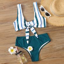 Striped Knot Front High Waisted Bikini Swimsuit