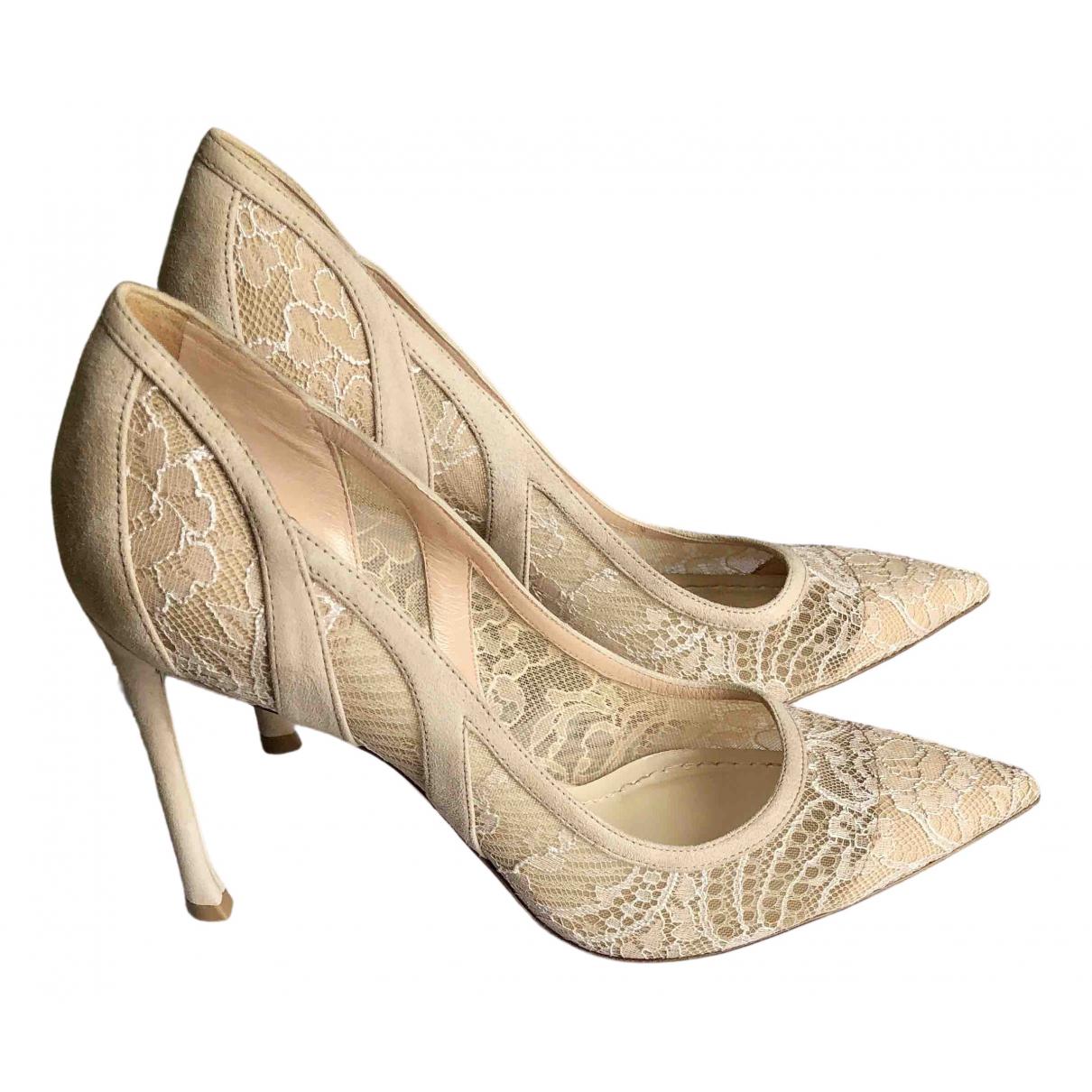 Dior N Beige Cloth Heels for Women 38 EU