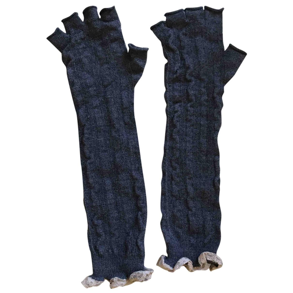 Twin Set N Grey Wool Gloves for Women M International