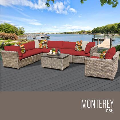 MONTEREY-08b-TERRACOTTA Monterey 8 Piece Outdoor Wicker Patio Furniture Set 08b with 2 Covers: Beige and