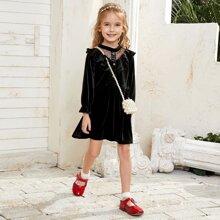 Toddler Girls Dobby Mesh Ruffle Trim Velvet Dress