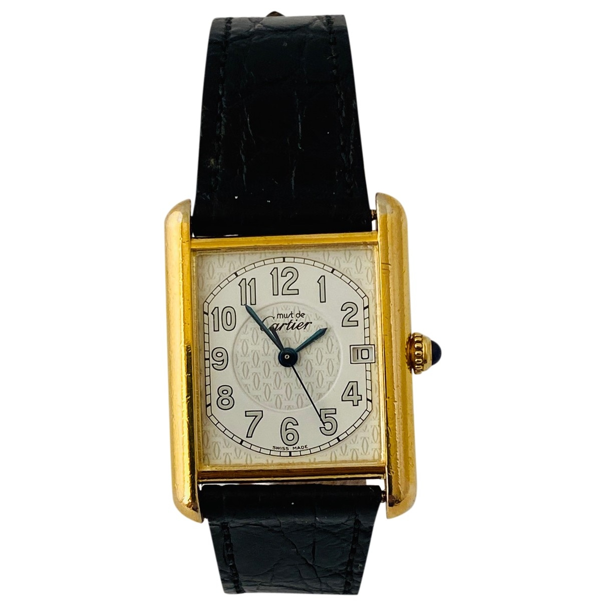 Cartier Tank Must White Silver Gilt watch for Men \N
