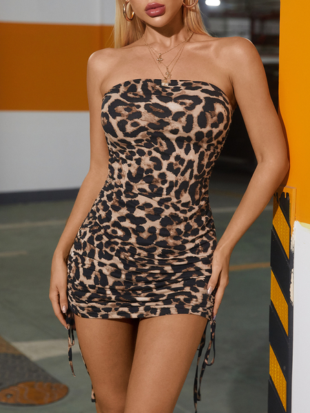 Yoins Brown Leopard Tie-up Tube Top Sleeveless Mini Dress