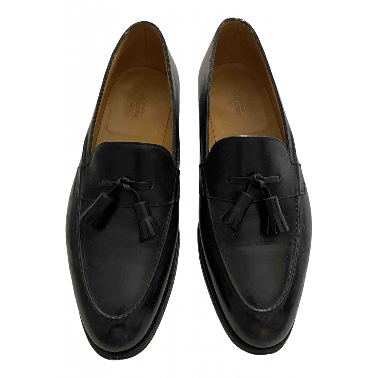 John Lobb \N Black Leather Flats for Men 7 UK