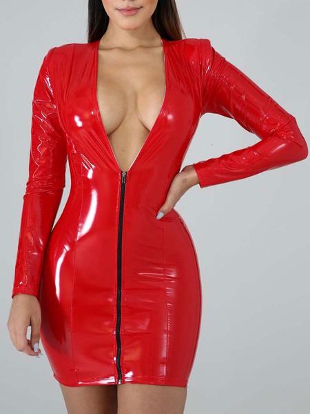 Milanoo Pink Club Dress Women V Neck Long Sleeves PU Leather Sexy Dress