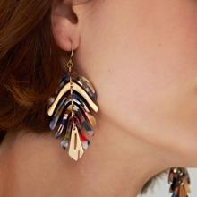 Harz Ohrringe mit Blatt Design