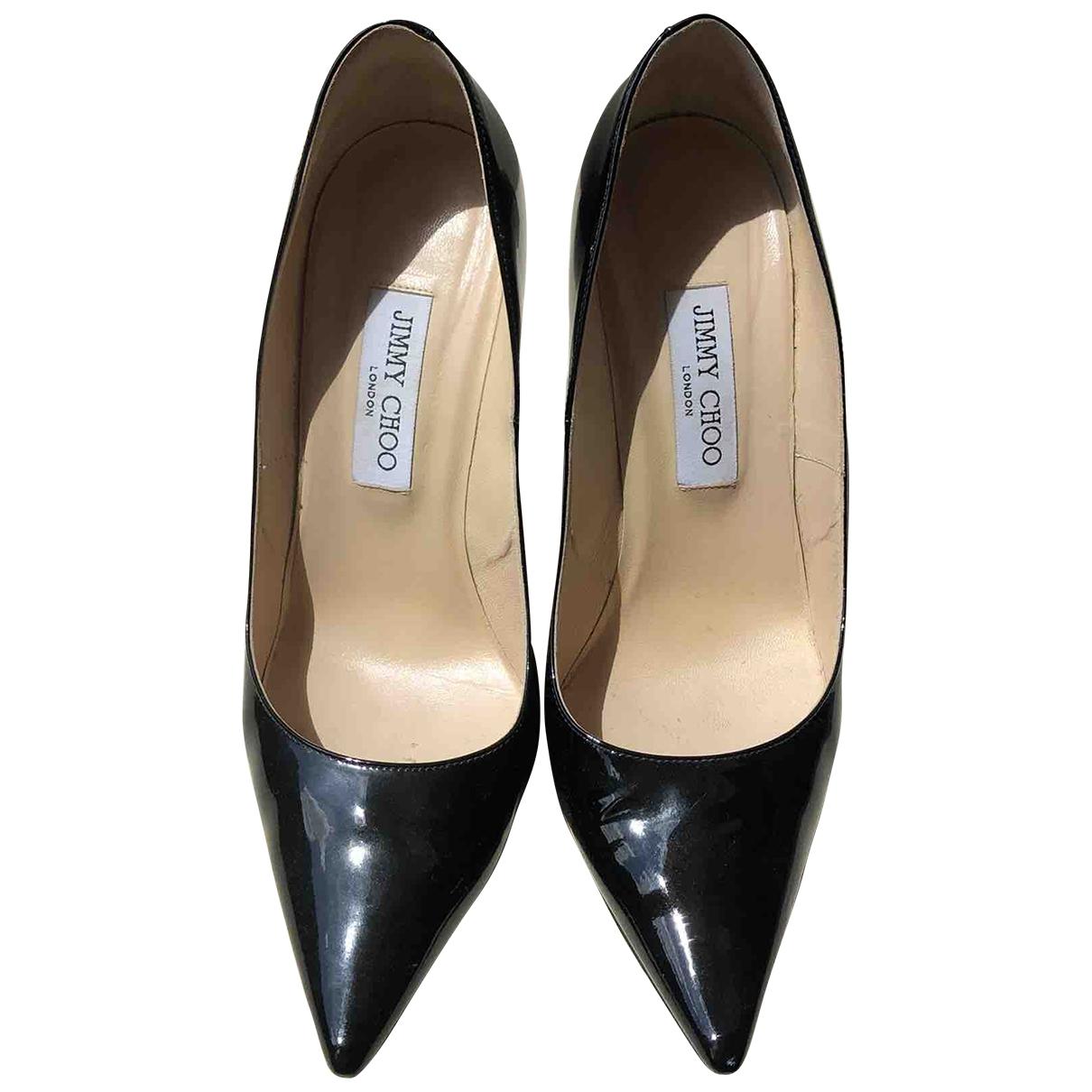 Jimmy Choo Anouk Black Leather Heels for Women 39.5 EU