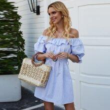 Striped Bardot Ruffle Self Tie Tunic Dress