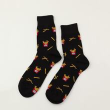 1 Paar Herren Pommes Frites Muster Socken