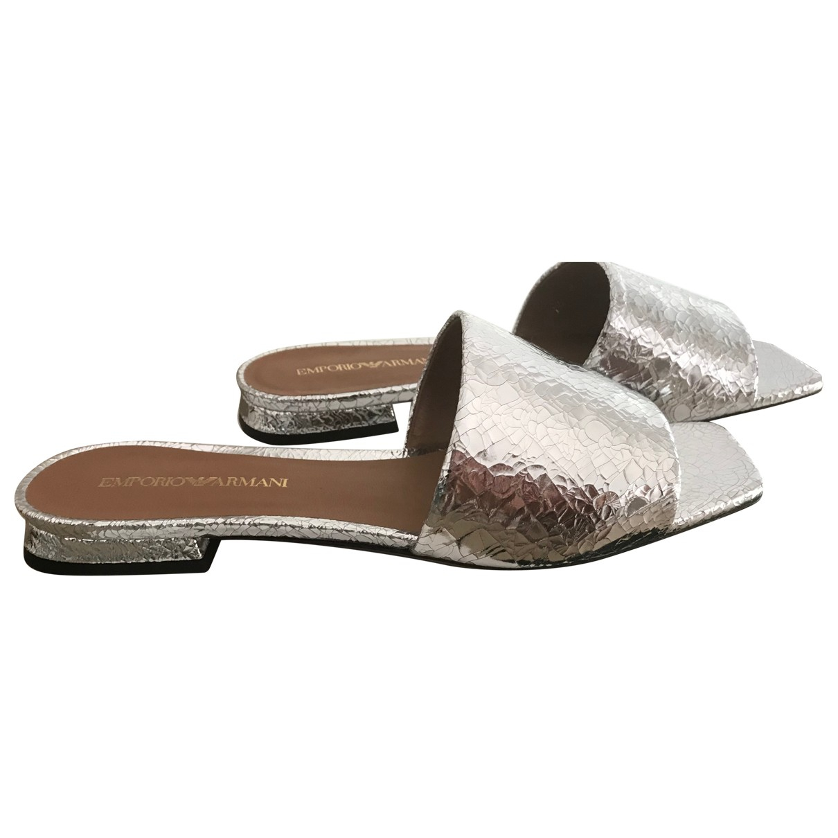 Emporio Armani \N Silver Leather Sandals for Women 38 EU