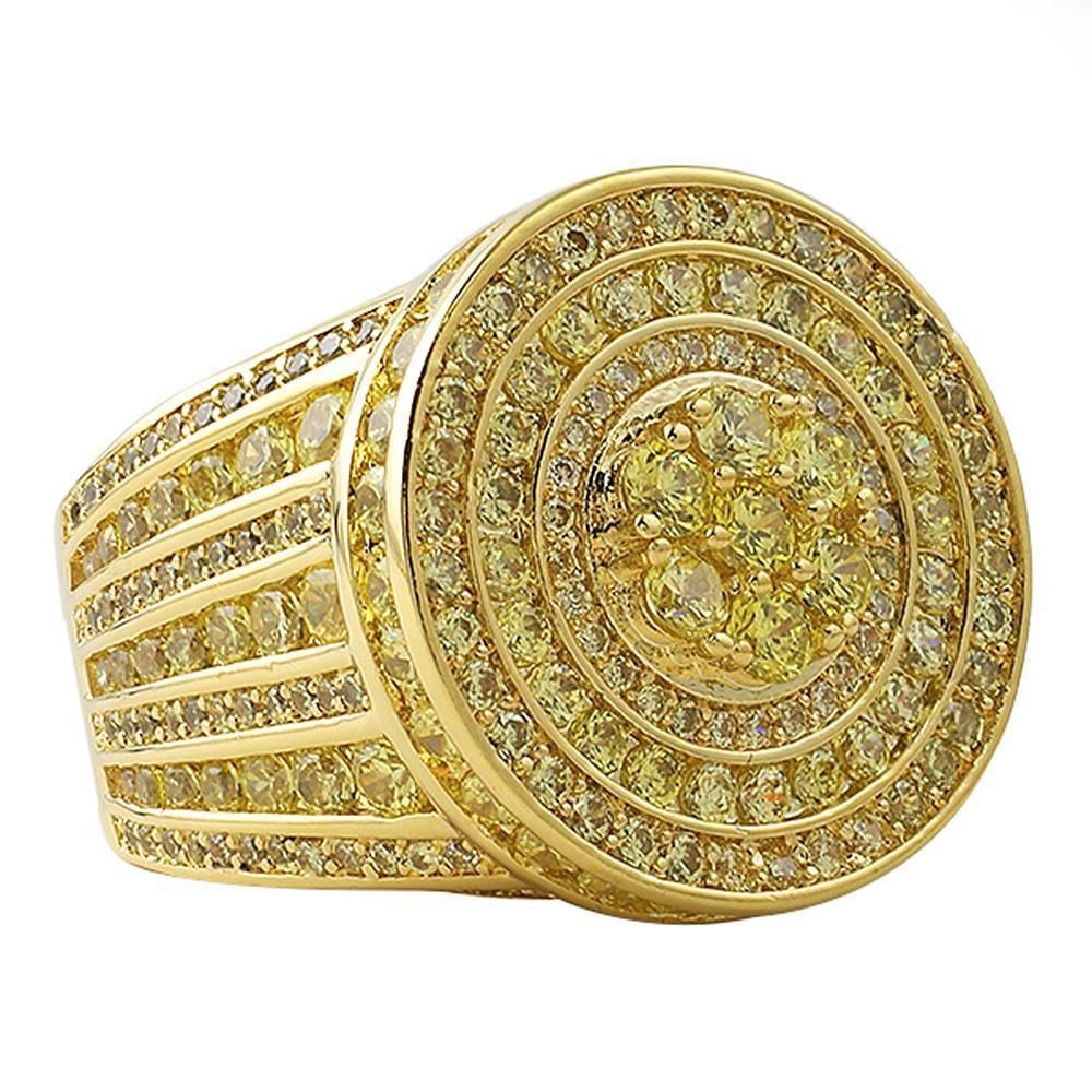 Canary Lemonade Gold Jumbo Cluster Hip Hop Ring