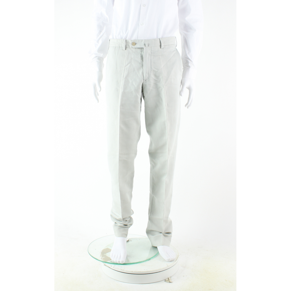 Loro Piana N Grey Linen Trousers for Men 48 IT