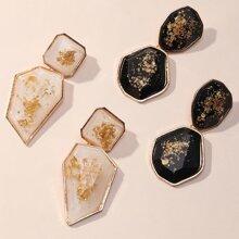 2pairs Resin Geometric Drop Earrings