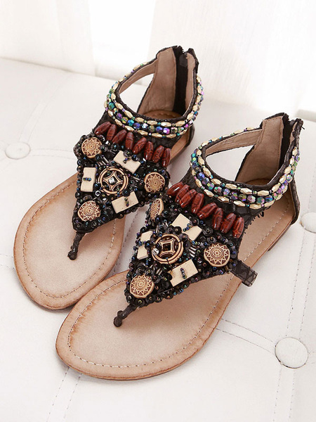 Milanoo Balck Boho Flat Sandals Thong Rhinestones Beach Sandals Women Zip Up Beach Sandals