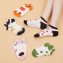 5 pares calcetines con fruta