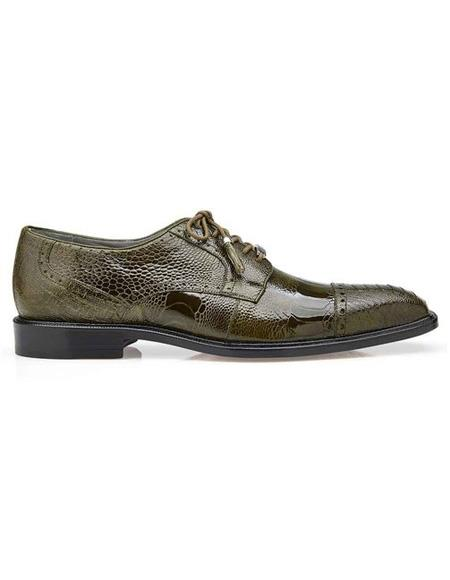 Mens Green Lace Up Ostrich Shoe