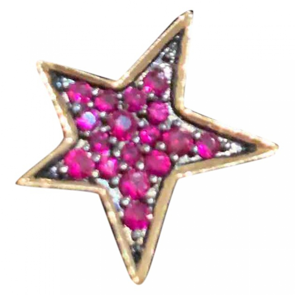 Djula - Boucles doreilles   pour femme en or rose - rouge